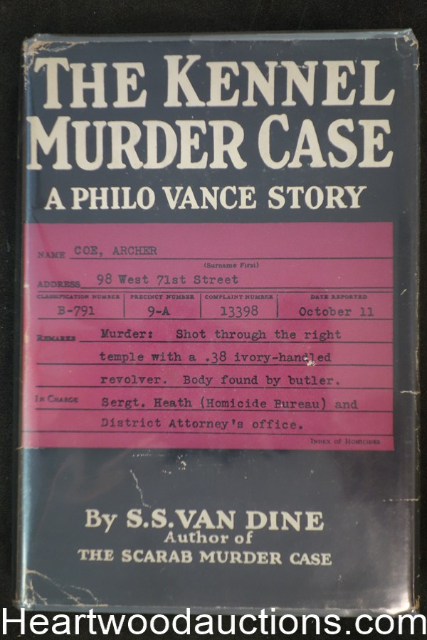 The Kennel Murder Case by S.S. Van Dine (1st edition with dustjacket)- High Grade