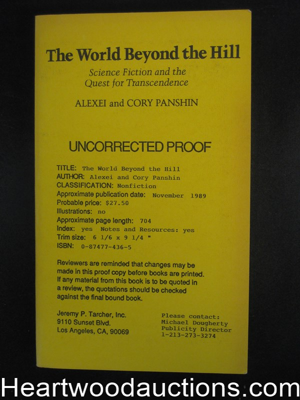 The World Beyond the Hill by Alexei Panshin (Signed) Uncorrected Proof (SOFTCOVER)