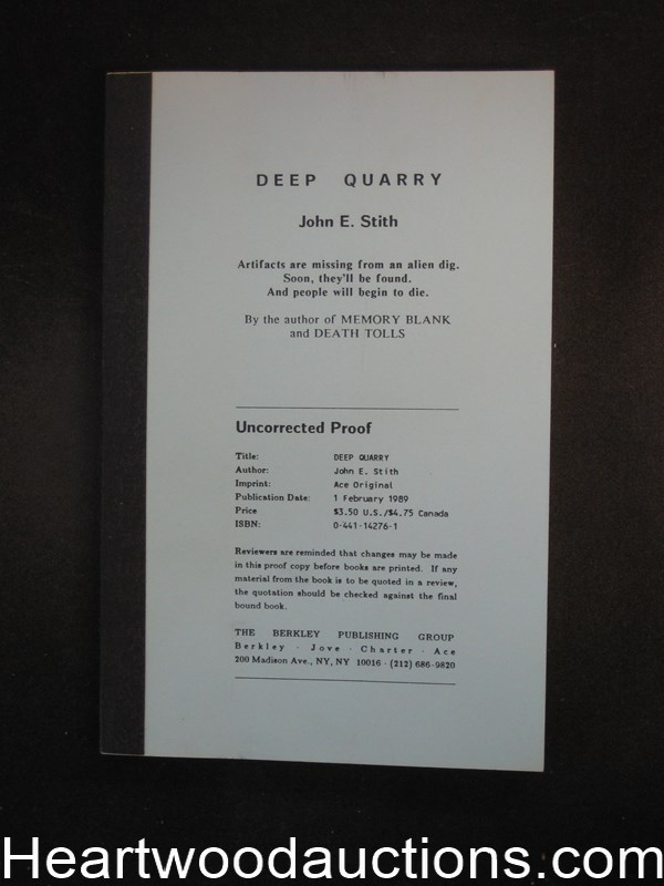 Deep Quarry by John E. Stith Uncorrected page proofs(SOFTCOVER)- High Grade