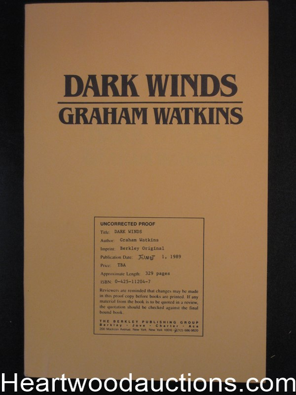 Dark Winds by Graham Watkins uncorrected proofs(SOFTCOVER)