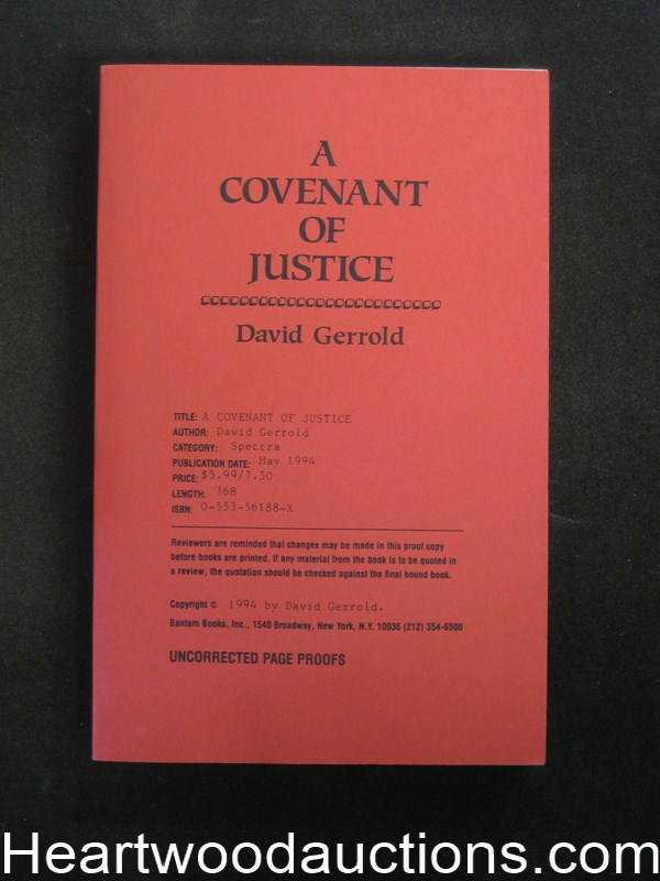 A Covenant Of Justice by David Gerrold Uncorrected Proof- High Grade