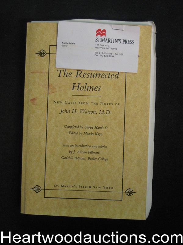 The Resurrected Holmes by Marvin Kaye Advance Uncorrected proof (SOFTCOVER)