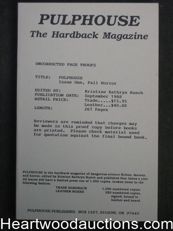 Pulphouse The Hardback Magazine: Issue One, Fall Horror by Kristine Kathryn Rusch (SOFTCOVER)