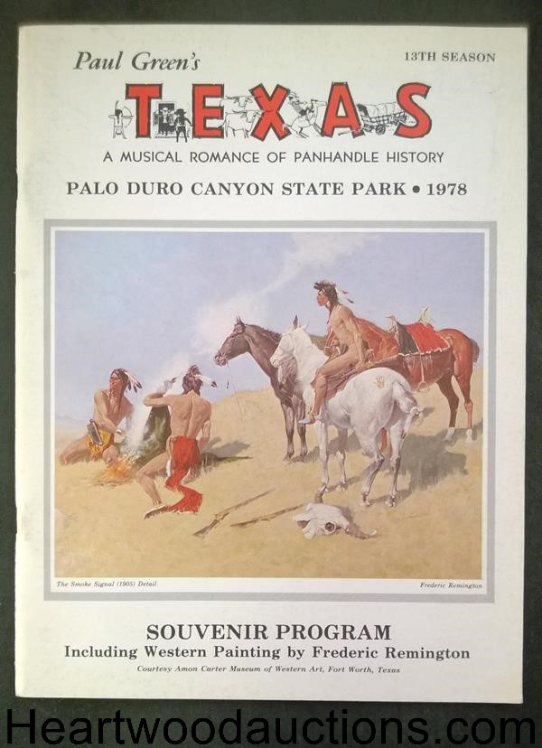 TEXAS: A Musical Romance (13th Season) by Paul Green (F. Remington Art) (SOFTCOVER)