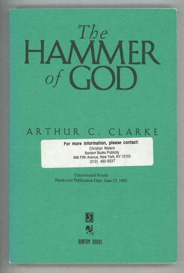 The Hammer of God by Arthur C. Clarke (Proof)- High Grade