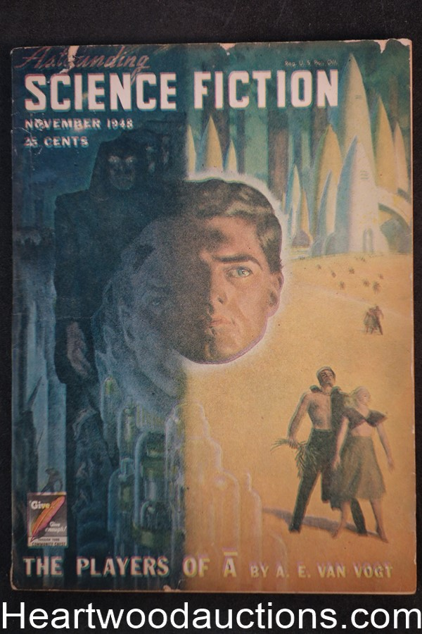Astounding Science Fiction Nov 1948 Edd Cartier Art,  Hubert Rogers Cvr, A.E. van Vogt