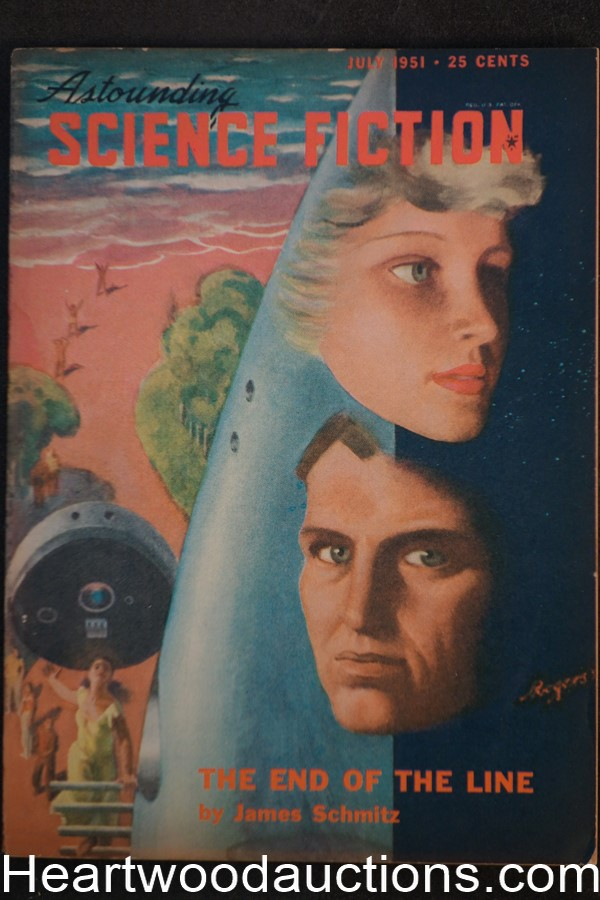 Astounding Science Fiction July 1951 Edd Cartier Art, Hubert Rogers Cvr