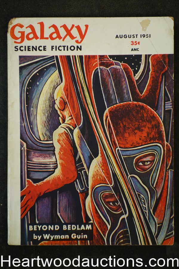 Galaxy Science Fiction Aug 1951 Emsh Cvr,Bradbury, del Rey