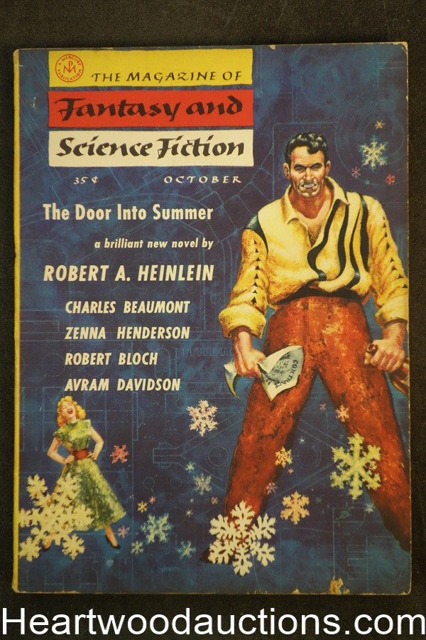 Fantasy and Science Fiction Oct 1956 Kelly Freas Cvr, Heinlein, Bloch, Boucher
