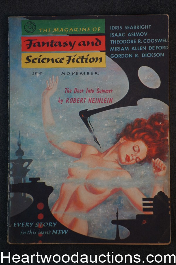 Fantasy and Science Fiction Nov 1956 Kelly Freas Cvr, Heinlein, Asimov,Boucher