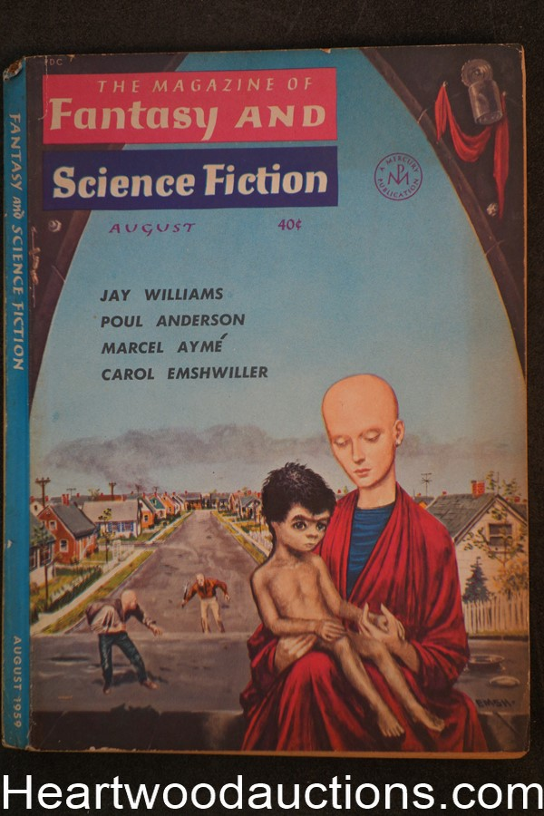 Fantasy and Science Fiction Aug 1959 Asimov, Bradbury, Emsh Cvr, Poul Anderson