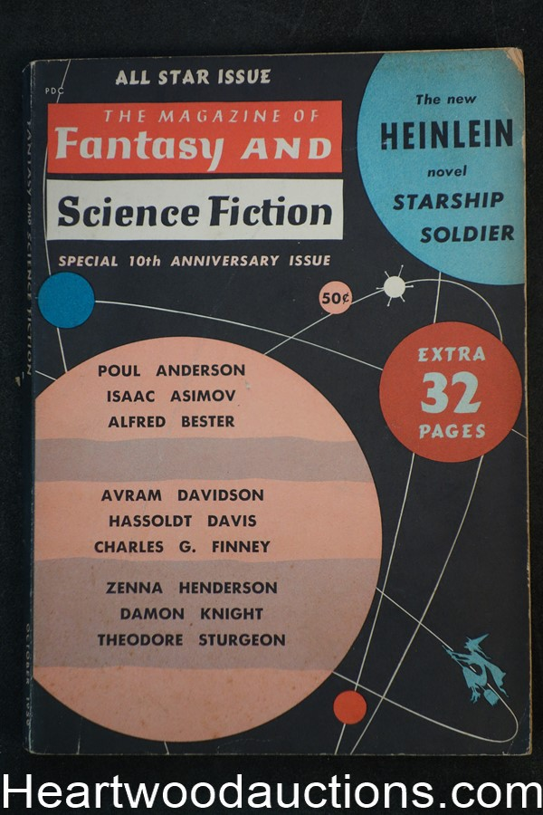 Fantasy and Science Fiction Oct 1959 Heinlein, Asimov, Anderson, Emsh Cvr. Finney