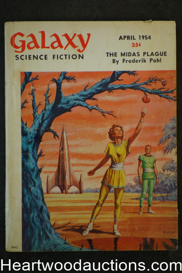 Galaxy Science Fiction Apr 1954 Emsh Cvr, Frederik Pohl, Knight,Dickson,