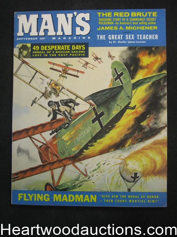 Man's Sep 1960 Mel Crair Biplane Dogfight Cvr, Basil Gogos,  Michener J.D. Story - Ultra High Grade- NAPA