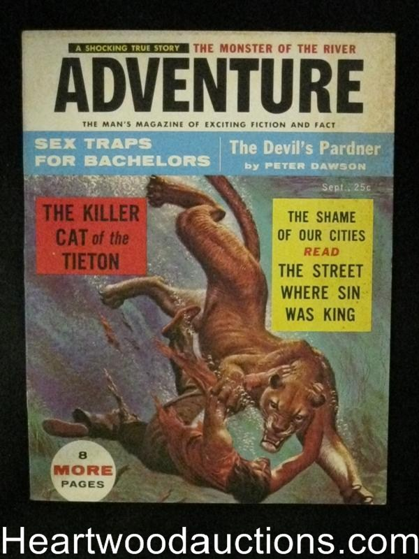 Adventure Sep 1956 Eve Meyer, Norman Saunders, Wild Lion assault cover