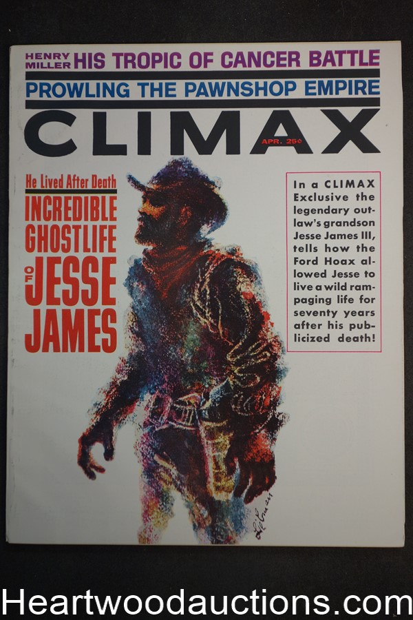 Climax Apr 1962 Jesse James Cover + Story, Baseball Billy Loes, Ted Lewin - Ultra High Grade- NAPA
