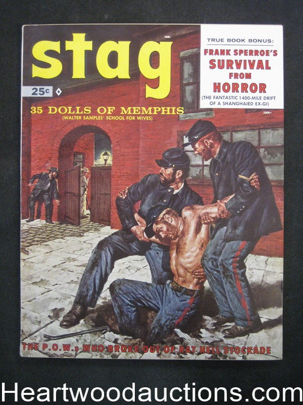 Stag Jan 1959 James Bama, Mort Kunstler Cvr, Al Rossi, Bruce Minney, joe Little - Ultra High Grade- NAPA