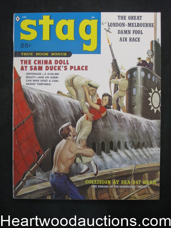 Stag Aug 1959 Rafael Desoto Cover, James Bama, Kunstler - Ultra High Grade- NAPA