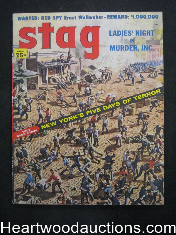 Stag Mar 1958 Kunstler Cover, Harry Harrison Story, Copeland, Gun Molls article - High Grade- NAPA