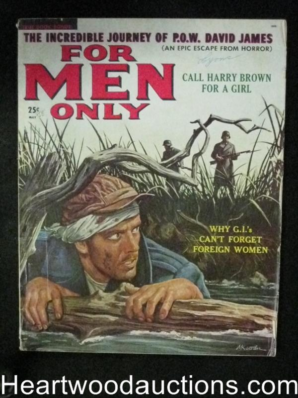 For Men Only May 1958 Lucky Luciano, Mort Kunstler Cover