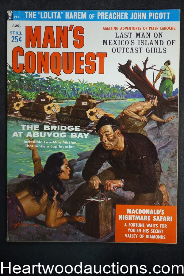 Man's Conquest Aug 1959 George Gross Cvr, Berry; Biggs; Eastman; Patti Turner, WWII - High Grade- NAPA