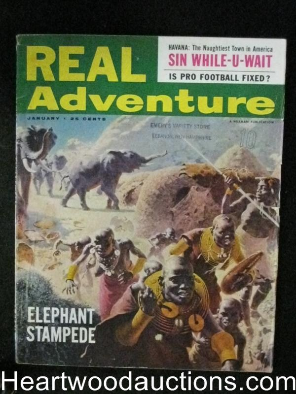 Real Adventure Jan 1957 Elephant Stampede Cover