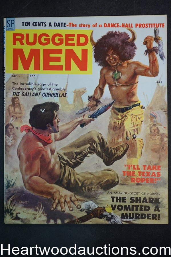 Rugged Men Sep 1958 Ted Lewin Indian assult Cvr,Civil War story, Sid Shores - High Grade- NAPA