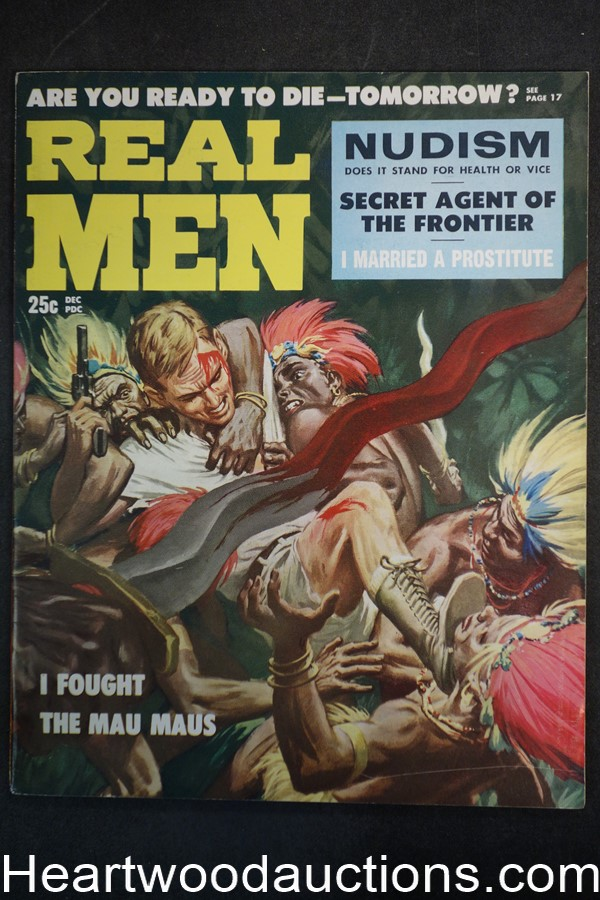 Real Men Dec 1957 L.A. Gang Pachuros, Clarence Doore Mau Maus Assault Cover - Ultra High Grade- NAPA