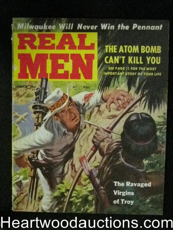 Real Men Mar 1957 Baseball,Clarence Doore assault Cover