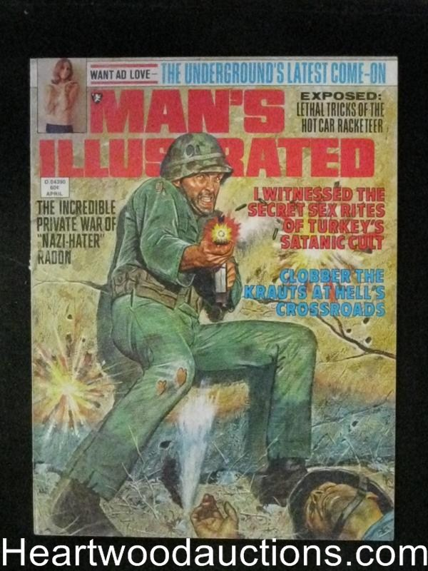 Man's Illustrated Apr 1974 Great WWII Cover,Satanic Cult