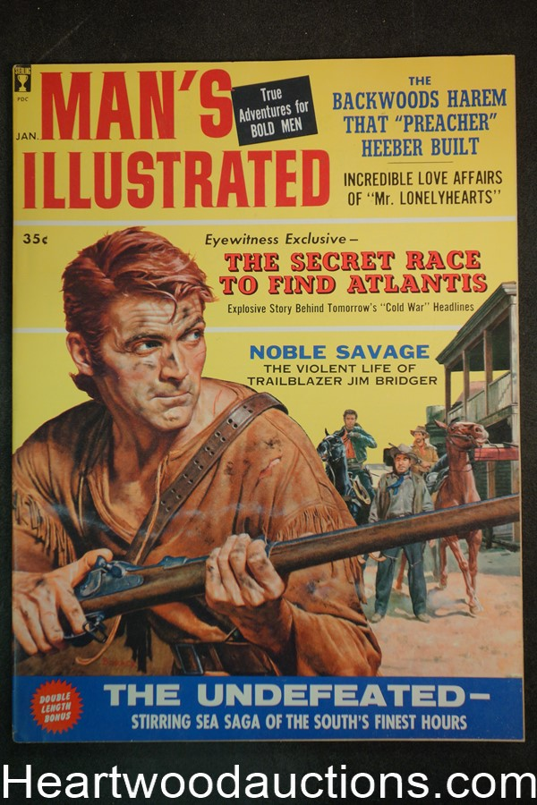 Man's Illustrated Jan 1960 Stanley Borack Cover, Norman Saunders Art - High Grade- NAPA
