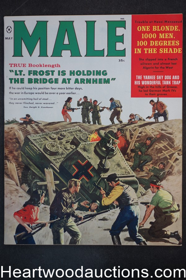 Male May 1960 James Bama Cover, Copeland, Pollen, Minney, Sigmund Freud,  - Ultra High Grade- NAPA