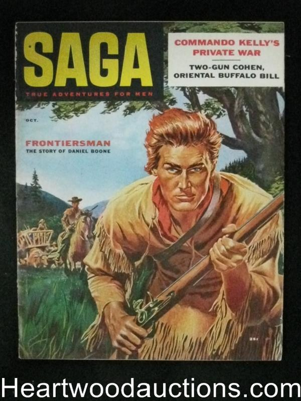 Saga Oct 1956 Norm Saunders, Daniel Boone Cover, WWII