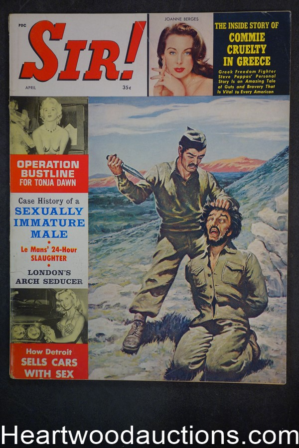 Sir! Apr 1962 Male Bondage Cvr by Ed Moritz, Tonja Dawn, Le Mans, WWII, Foreign Legion- NAPA