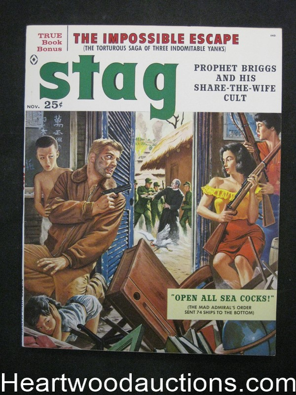 Stag Nov 1959 James Bama, Copeland, Kunstler, Stanley full color illustrations - Ultra High Grade- NAPA