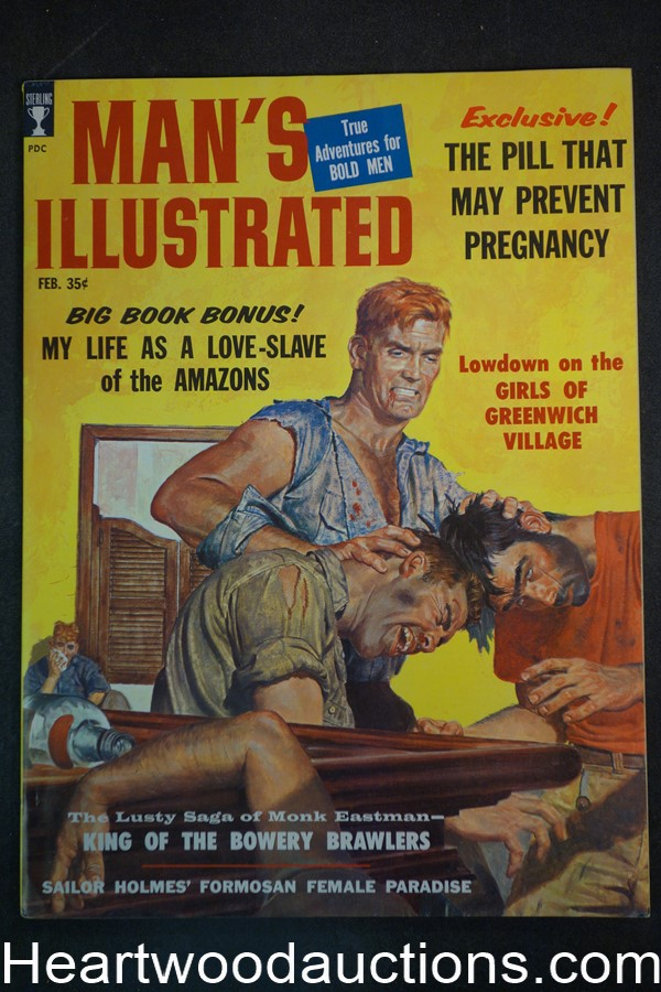 Man's Illustrated Feb 1959 Bowery Brawlers cover, Monterey Kid - Ultra High Grade- NAPA