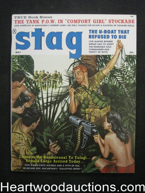 Stag May 1960 James Bama, Women with a Machine Gun Cvr, Bruce Minney, Mort Kunstler - Ultra High Grade- NAPA