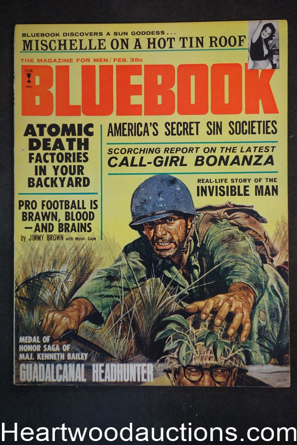 Blue Book Feb 1966 Jim Brown football article, WWII - High Grade- NAPA