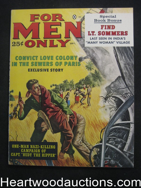 For Men Only Sep 1961 Charles Copeland, Bruce Minney, Al Rossi WWII Story Rudy the Ripper - Ultra High Grade- NAPA