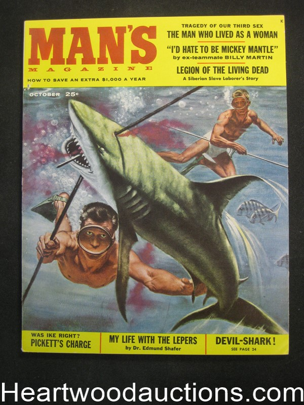 Man's Oct 1957 Wild Shark Fishing Cvr by Mel Crair, , Baseball Mickey Mantle, Lou Marchetti - Ultra High Grade- NAPA
