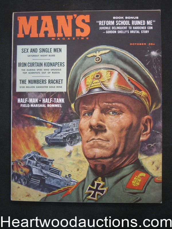 Man's Oct 1958 Rommel Cover by Mel Crair / Lou Marchetti, Tina Louise,  - Ultra High Grade- NAPA