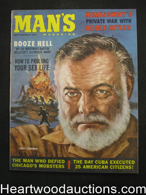 Man's Sep 1959 Ernest Hemmingway Cvr by Bob Schulz, Norm Eastman - Ultra High Grade- NAPA