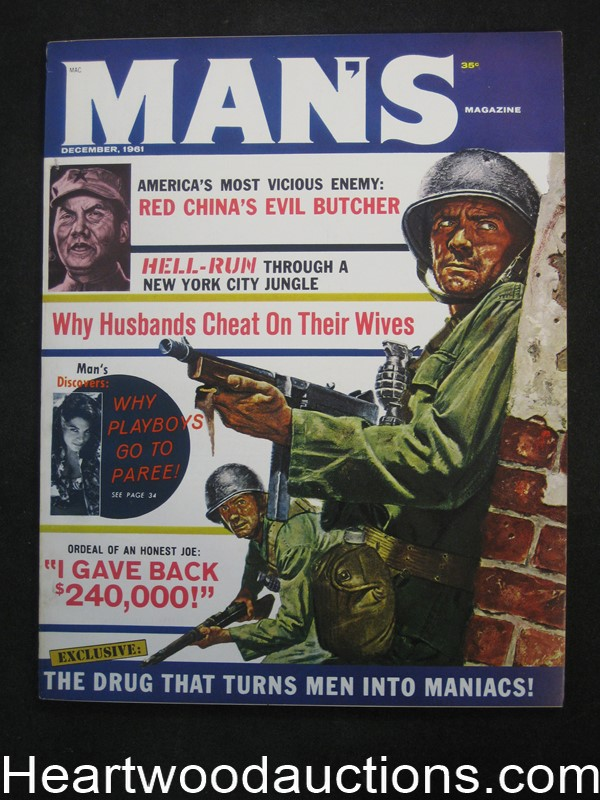 Man's Dec 1961 Tommy Gun Cover by Mel Crair, Basil Gogos, Bruce Minney, Jay Scott Pike - Ultra High Grade- NAPA