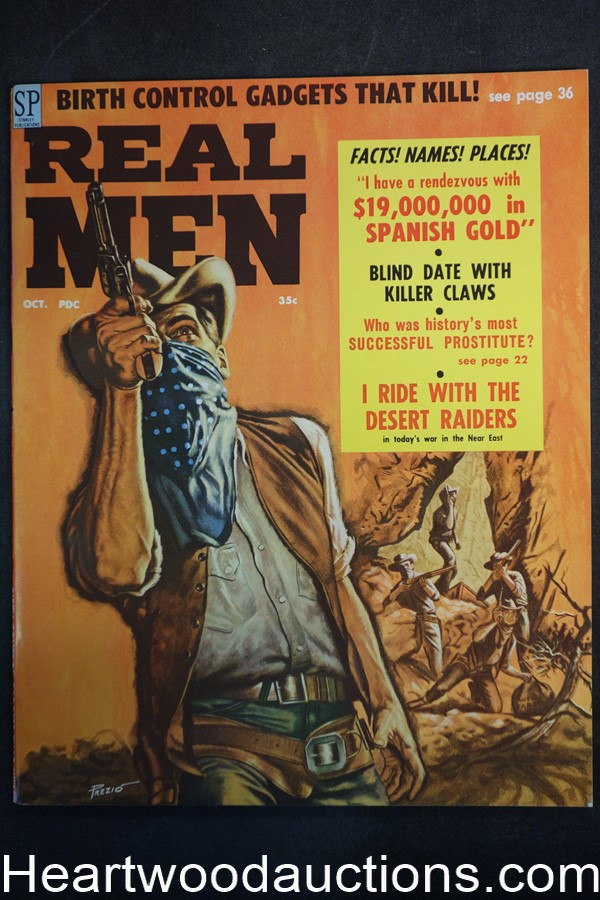 Real Men Oct 1958 Vic Prezio Cvr, Wounded Knee - Ultra High Grade- NAPA