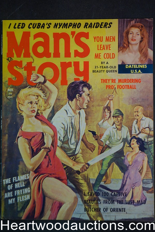Man's Story Nov 1960 Wild Bondage Cvr, Sex Killers, Rommels,  Julie Jacques - High Grade- NAPA