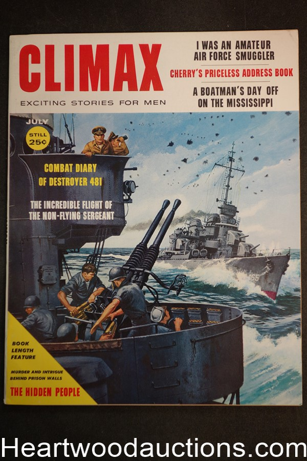 Climax Jul 1958 Int. Bondage Art, WWII- Destroyer 481, Pat Levee - Ultra High Grade- NAPA
