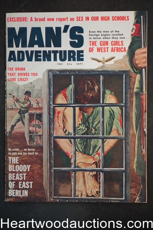 Man's Adventure Sep 1960 Clarence Doore, The Girl Who Lived on Pain - High Grade- NAPA