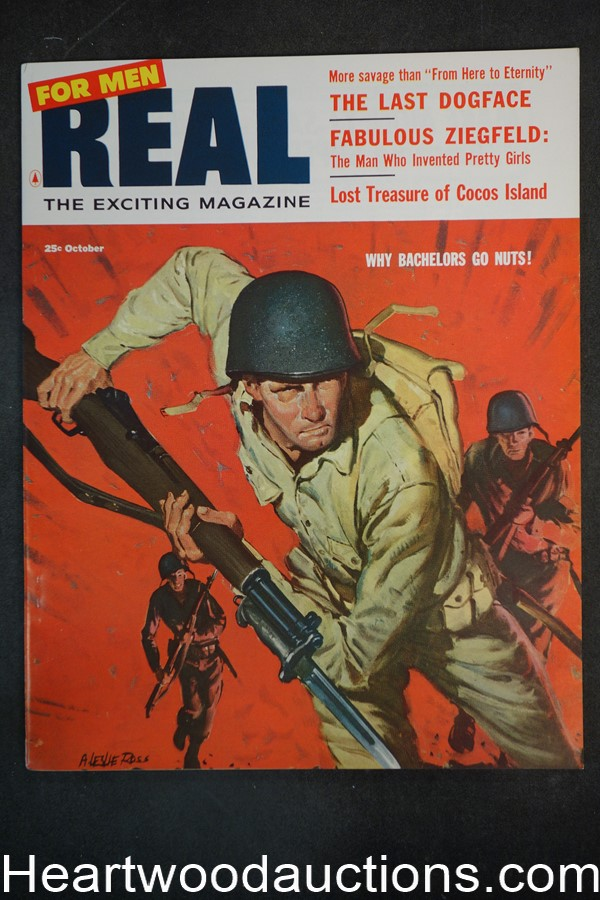 Real For Men Oct 1956 Norman Saunders; A. Leslie Ross WWII Cvr - Ultra High Grade- NAPA