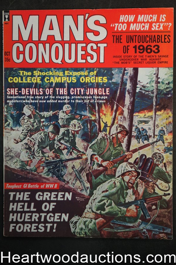 Man's Conquest Oct 1963 Basil Gogos, Female JD Gangs, Dion Garret, Bootlegging, WWII Gestapo - Ultra High Grade- NAPA