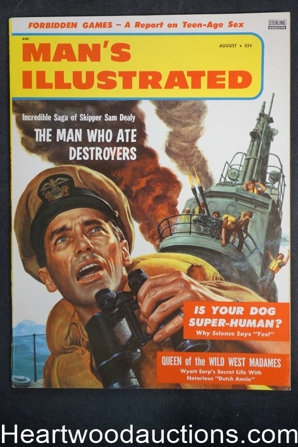 Man's Illustrated Aug 1957 Joi Lansing, WWII Korean War; Sam Dealy: The Man who ate Destroyers - High Grade- NAPA